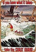 海岸警備隊の道を取りますブリキの看板の壁の装飾金属のポスターレトロなプラーク警告看板オフィスカフェクラブバーの工芸品