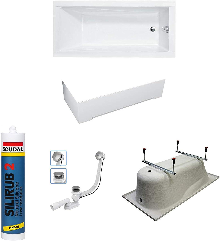 Bestshop24.eu Premium MODERN Rechteck Badewanne Acryl 150x70 cm mit SCHüRZE + Ablaufgarnitur, Füe, Silikon