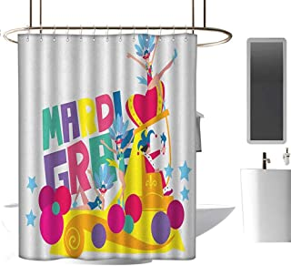 Camping Shower curtain70 x70 Mardi Gras,Festival Parade Theme Dancers in Costumes Colorful Dots Stars Abstract Design Multicolor,Metal Rust Proof Grommets Bathroom Decoration