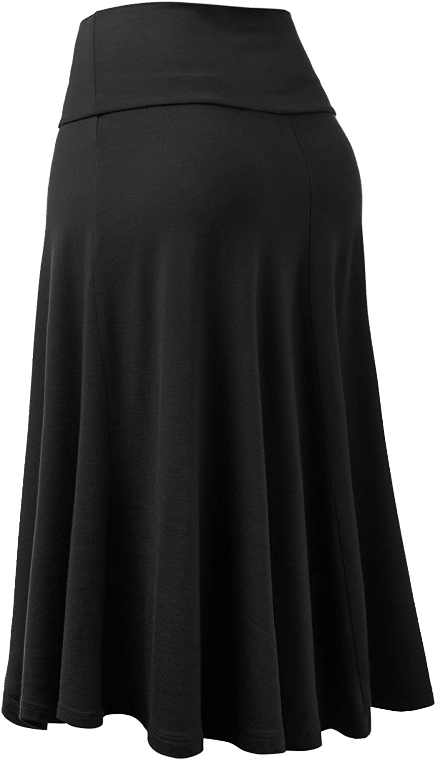 Lock and Love Women's Solid Ombre Lightweight Flare Midi Pull On Closure Skirt S-XXXL Plus Size
