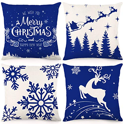 CDWERD Christmas Winter Pillow Covers Blue Snowflakes 18x18Inches Decorative Throw Pillow Case Christmas Decorations Cotton Linen Cushion Case for Bed Sofa Couch Set of 4