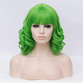 Hairpieces Short Curly Wigs with Bangs Pink Red Black White Grey Synthetic Cosplay Wig for Women Heat-Resistant Hair Exten...