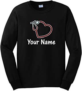 Personalized Nurse Gifts Any Name Stethoscope Heart Long Sleeve T-Shirt