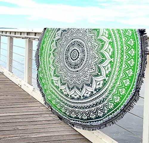 Aakriti Toalla de playa redonda con degradado estilo mandala indio, tapiz hippy, boho, mantel de algodón, mantel para picnic, esterilla de yoga, chal redondo, 182 cm, algodón, Verde y azul, 180 cm 🔥