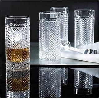 Ralph Lauren Herringbone Highball Crystal Glass Set of 4