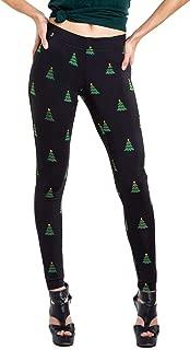 Women's Black Christmas Tree Leggings - Cute Ugly Christmas Sweater Tights