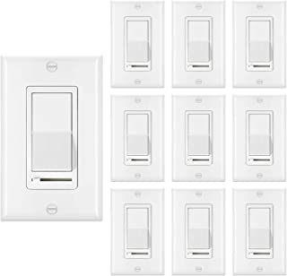 [10 Pack] BESTTEN Dimmer Light Switch, Single-Pole or 3-Way, 120V, Compatible with Dimmable LED, CFL, Incandescent and Halogen Bulbs, Decorator Wall Plate Included, UL Listed, White