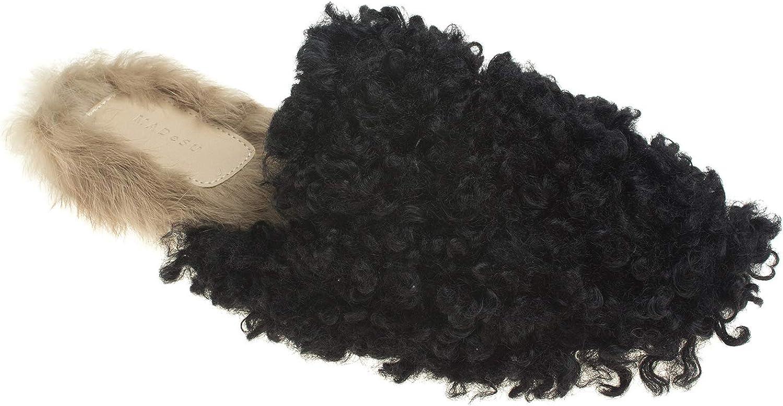 AnnaKastle Womens Curly Faux Fur Flats Mule Slipper Winter Slide