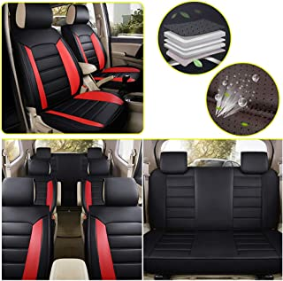Gray and Black 2 PC Elantrip Waterproof Front Car Seat Covers Set Universal Fit Bucket Seat Protector Airbag Compatible for Cars SUV Truck