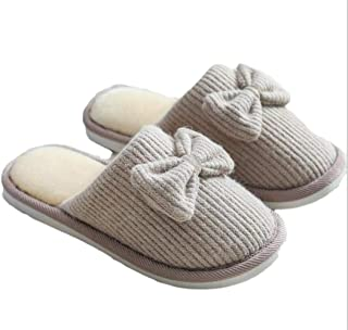 New Home Warm Cotton Slippers Winter Bow Simple Indoor Cotton Slippers Ladies Non-Slip Wear-Resistant Slippers Memory Foam Booties Slip-on Fur Lining/Non-Slip (Color : Khaki, Size : 38-39 Yards)