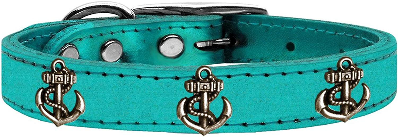 Mirage Pet Products 83 -107 TQM22 Bronze Anchor Widget Genuine Metallic Leather Collar, Size 22, Turchese