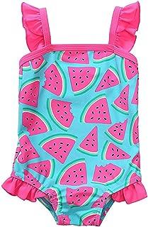 Newborn Baby Girl Swimsuit Watermelon Print Bikini Ruffles Sleeve Backless Swimwear One-Piece Bathing Suit