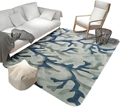 Non-slip carpet door mat Lord of Rugs - Quality Modern Hand Carved Thick Soft Squared Design Style Home For Living Room Sofa Bedroom For Relaxing Reading Multi Colours Blue Rug In Various Sizes Carpet