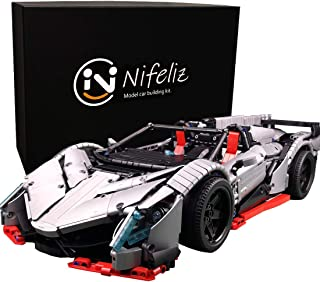 Nifeliz Racing Car Veno MOC Building Blocks and Engineering Toy, Adult Collectible Model Cars Set to Build, 1:8 Scale Silver Race Car Model (3427 Pcs)