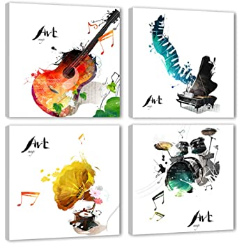 4 Pieces Canvas Wall Art Guitar Piano Phonograph and Drum Set Four Kinds of Classical Music Instruments Picture Music Painting Giclee Art for Home Decor Framed Ready to Hang (Guitar, 12x12inchx4pcs)