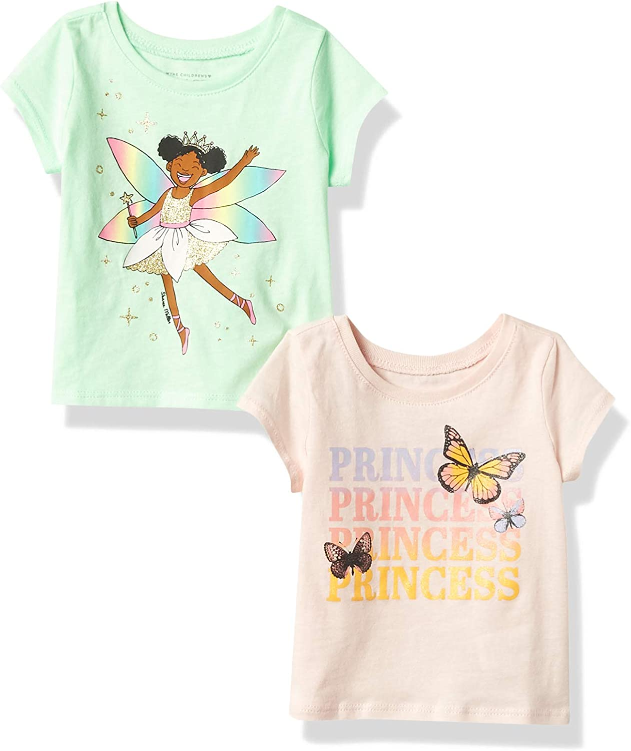 The Children's Place Baby and Toddler Girls Princess Graphic Tee 2-Pack
