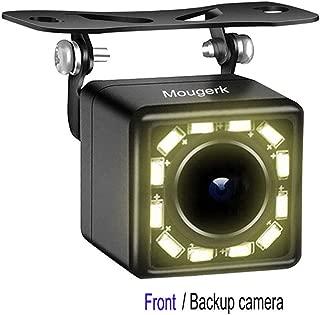 Front Rear View Car Camera, Mougerk Front Backup Camera 170 Degree Wide Angle Waterproof 12 LED Nigh Vision Lights Reverse Cameras for 12V Cars