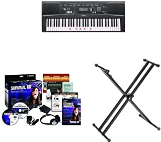 Yamaha EZ220 61-Key Portable Keyboard + Yamaha SKB2 Survival