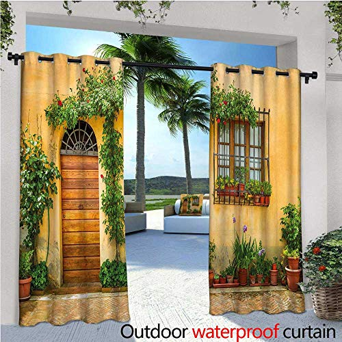cobeDecor Italy Patio Curtains Porch with Different Flowers Pots Fresh Green Plants City Life in Tuscany Outdoor Curtain for Patio,Outdoor Patio Curtains W120 x L84 Apricot Green Brown