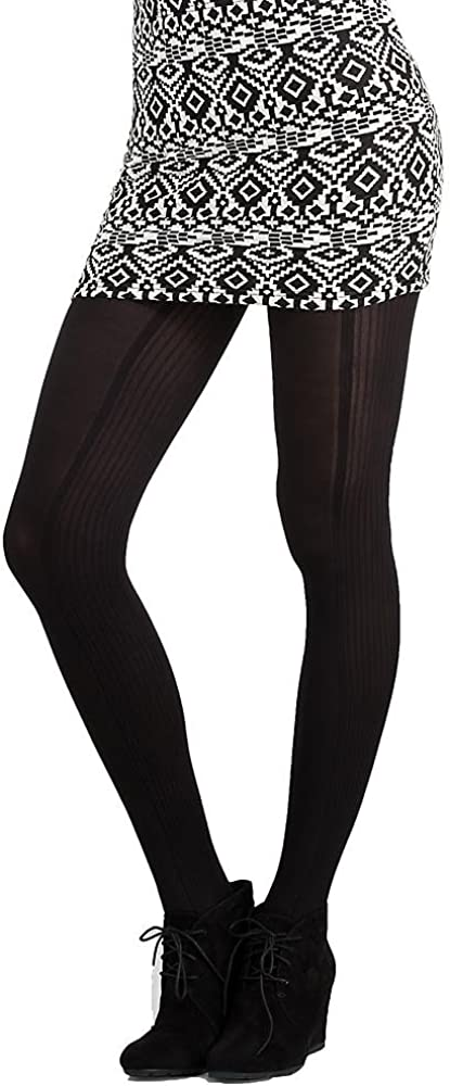 Hue Women's Luxe Tights Contour Rib With Control Top S/M Black