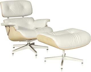 Lounge Chair and Ottoman, Mid Century Modern Classic Design, Natural Leather, High-Density Wood (Cream,Normal 1)