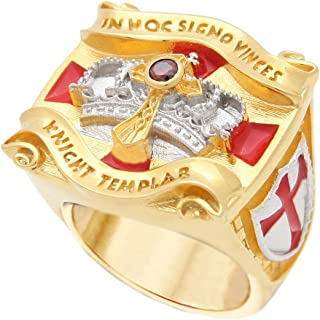UNIQABLE Knight Templar Masonic Ring 18k Gold PLD Yellow Version Cross & Crown 45 Gr Handcrafted BR-1