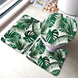 Moslion Leaf Bath Mat Tropical Tree Palm Leaves in Hawaii Forest Jungle Foliage Bathroom Mat Set 3 Pieces Rug Toilet Seat Lid Cover Non Slip Mat Anti-Skid Pad Green