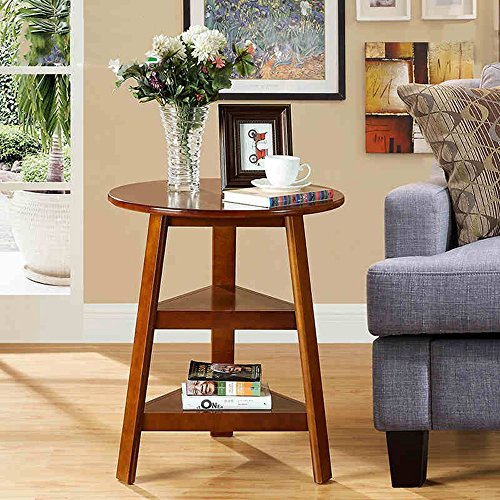 FEI étagères Table ronde en bois massif Table basse ronde simple à côté de la table à café Corner 56 * 67cm (Couleur : Noyer)