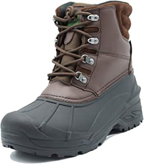Northikee Men's Winter Snow Boots Waterproof, Non-Slip, Safe, Warm and Cold Weather Walking Boots with Ankle-Covered Leather Suede Upper Adult Brown Shoes