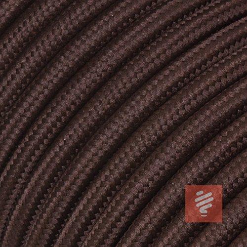 Textilkabel für Lampe, Stoffkabel 3-adrig (3x0,75mm²), Braun (Dunkelbraun) - 3 Meter