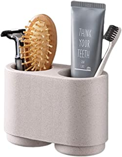 Wekity Toothbrush Holder, Wall-Mounted Toothbrush and Toothpaste Wash Cup Storage Holder with 2 Magnetic Cups Bathroom Wash Suit for Couple, No Drill or No Nail Needed, Space-Saving (Beige)