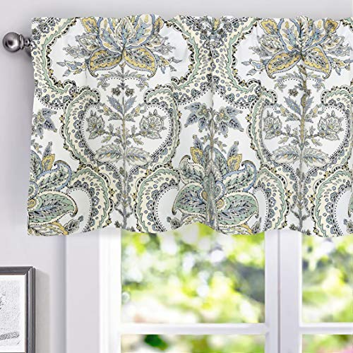 DriftAway Eden Floral Botanical Leaves Lined Thermal Insulated Window Curtain Valance Rod Pocket 52 Inch by 18 Inch Plus 2 Inch Header Multi Color 1 Pack
