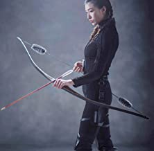 TOPARCHERY Archery Hunting Recurve Bow One Piece Traditional Wood Longbow Targeting Practice Right Hand with Otter Balls String Silencer