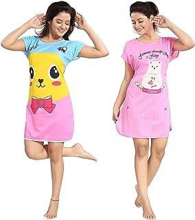 SSoShHub Girl's/Women's Hosiery Printed Short Length Nigthy/Nightwear or Long Top (Assorted Print & Colours) Pack of 2