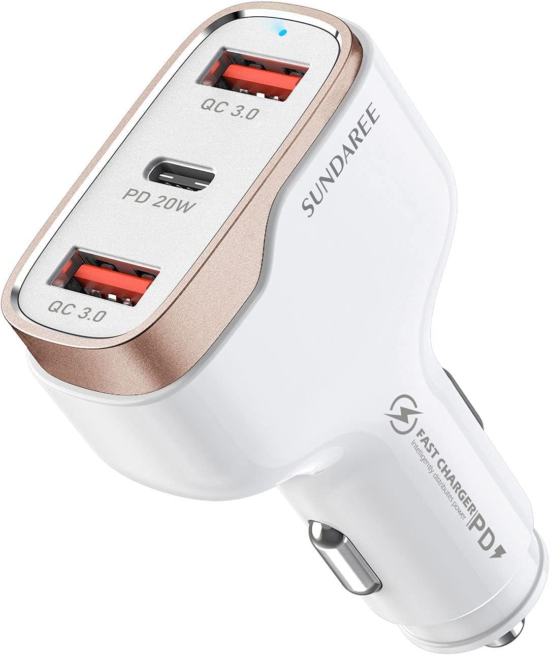 SUNDAREE Cargador Coche Tipo C,38W 3 Port 12V~24V PD&QC 3.0 Qucik Charge Carga Rapida USB C Mechero Adaptador for Xiaomi redmi Note 10/Poco/Samsung A21 A51/iphone 12 /Pad/OPPO/OnePlus/Huawei/Table