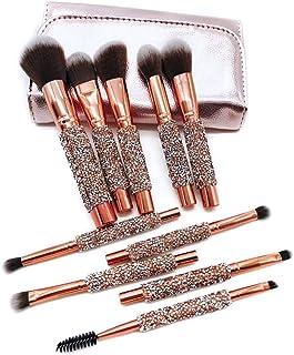 Professional Foundation Blending Blush Eye Face Liquid Powder Cream 10 Pcs Unicorn Shiny Gold Diamond Makeup Brush Set Make-Up Tools (Color : Gold, Size : Free)