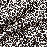 Kt KILOtela Tela por Metros de loneta Estampada Digital - Half Panamá 100% algodón - Ancho 280 cm - Largo a elección de 50 en 50 cm | Animal Print. Leopardo - Marrón, Negro