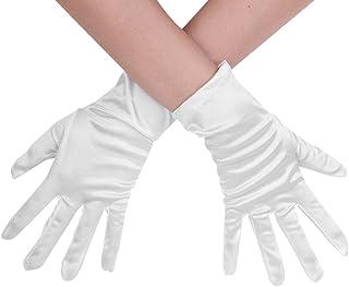 Adultes à moitié Palm Gants Femmes Satin Costume accessoires femmes réduites Blanc