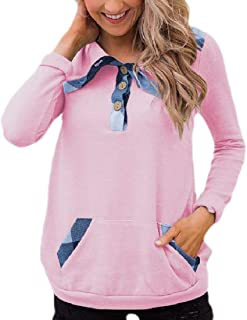 Womens Hoodies Button Neck Pullover Long-Sleeved Sweatshirt with Pockets