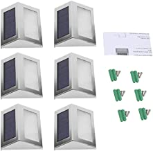 DaMohony Nachtlampje Tuinlamp Zonne-Energie Wandmontage Led Sensor Nachtlampje Ideaal Voor Buitentrap Buiten. (6 Stuks)