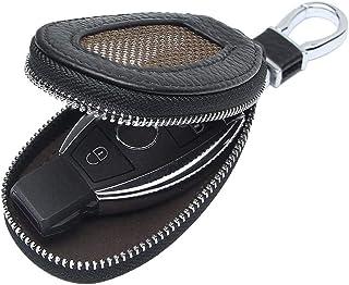 VSLIH Genuine Leather Key Case Car Smart Key Cover Keychain Holder Metal Hook and Keyring Zipper mesh Wallet Auto Remote K...