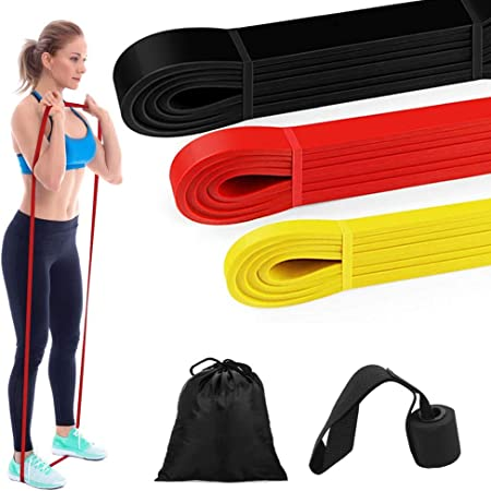 and stretchy pull up assistance loops long home gym equipment for fitness exercise and workout for man and woman strength FitShark Resistance bands set of 4 premium heavy