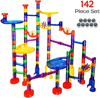 Marble Run Game Translucent Marble Maze STEM Educational Marble Race Track Building Construction Toys, Perfect for Boys and Girls Age 3 4 5 6 + Year Old – 102 Marbulous PCS + 40 Glass Marbles