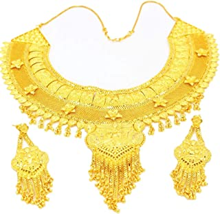 Jewelry sets Through flowers 24K gold middle East dubai with Crystal and Rhinestone Diamonds, Durable Fashion Design of Pendant Necklace, Earrings and Bracelet Chain for Bridal, Bridesmaids, Prom