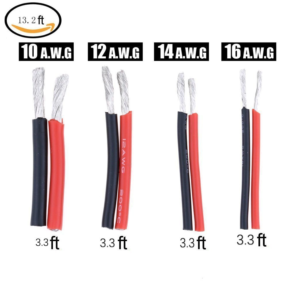 10 Gauge 12 Gauge 14 Gauge 16 Gauge High Temperature Resistant Soft And Flexible Silicone Wire 4 Sizes 13 2 Feet Amazon Co Uk Diy Tools