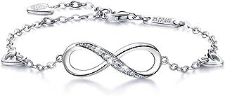Billie Bijoux Infinity Unendlichkeit Symbol Damen Armband 925 Sterling Silber Zirkonia Armkette Verstellbar Charm Armband