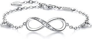Pulsera de Plata esterlina Mujer Símbolo Amor Infinito Brazalete de Mujer Ajustable Regalo Ideal el día de San Valentín