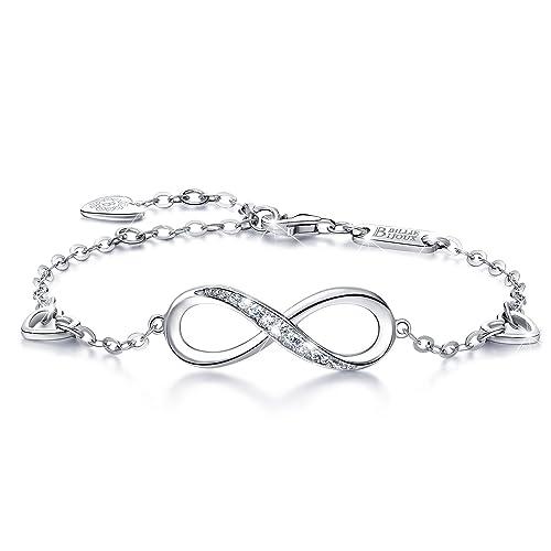 Billie Bijoux Infinity Unendlichkeit Symbol Damen Armband 925 Sterling  Silber Zirkonia Armkette Verstellbar Charm Armband af4557a9ca