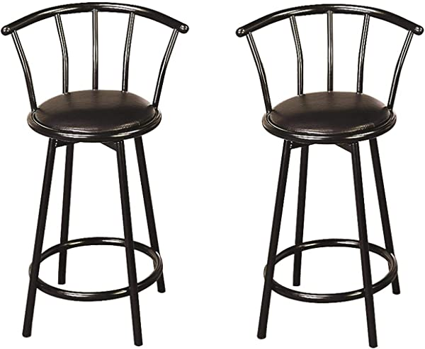 Buckner 24 Metal Counter Stools With Faux Leather Swivel Seat Black Set Of 2