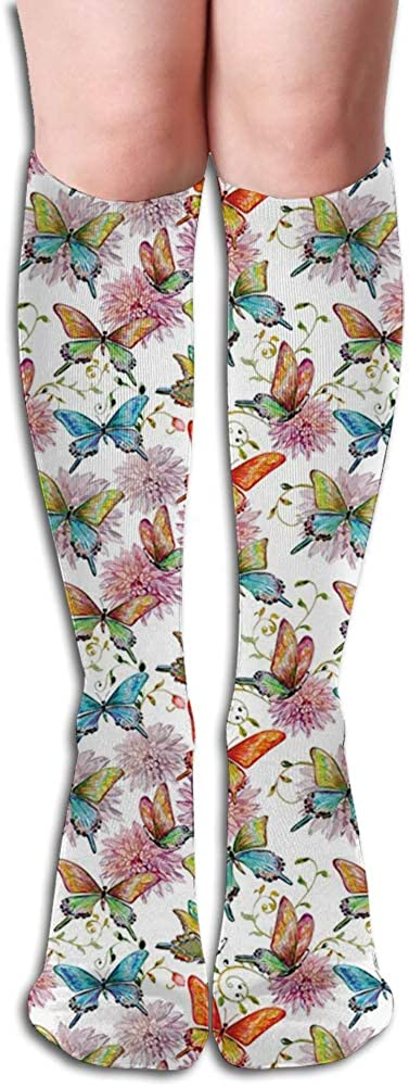 Men's and Women's Funny Casual Combed Cotton Socks,Flying Butterflies with Floral Elements Vivid Color Palette Wildflowers Retro